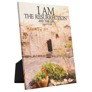 Load image into Gallery viewer, I Am the Resurrection tabletop canvas, Christian wall art, Garden Tomb art, Yeshua art, Messianic art, Jesus art, Bible verse art, Easter decor