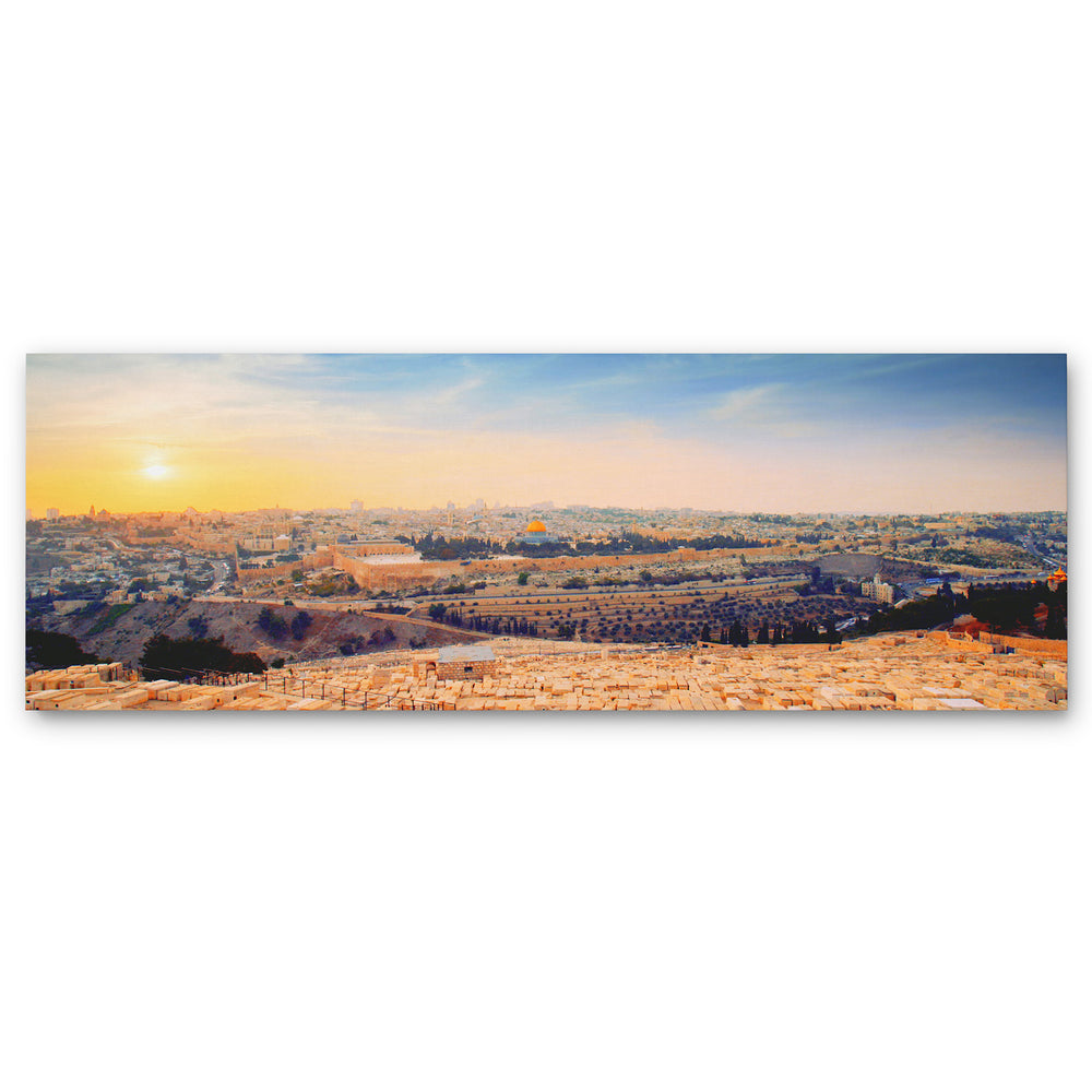 Jerusalem Golden Sunset From Mount of Olives - Large Panoramic Canvas