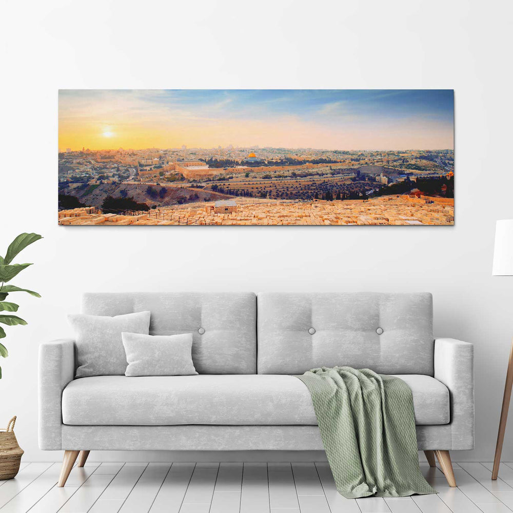 Jerusalem Golden Sunset From Mount of Olives - 60x20 Large Panoramic Canvas