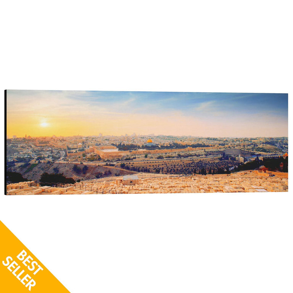 Jerusalem Golden Sunset From Mount of Olives - 60x20 Large Panoramic Canvas Art