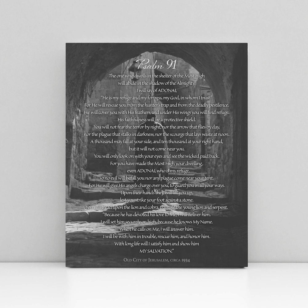 """Psalm 91"" The Prayer of Protection - 8x10 Tabletop Canvas Art"