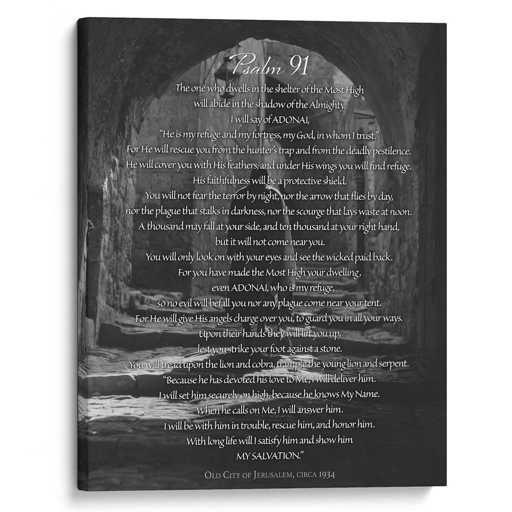 """Psalm 91"" The Prayer of Protection - 16x20 Gallery Wrapped Canvas Art"