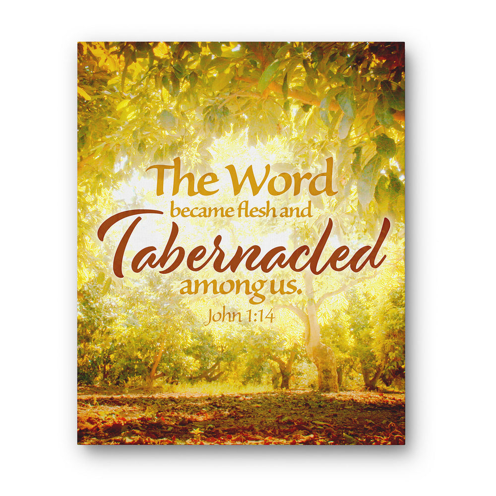 """The Word Became Flesh and Tabernacled Among Us"" Israel Autumn Orchard - Gallery Wrapped Canvas Art"