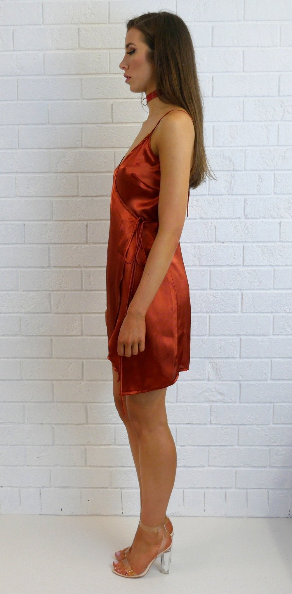Daisy Silky Slip Dress Burnt Orange