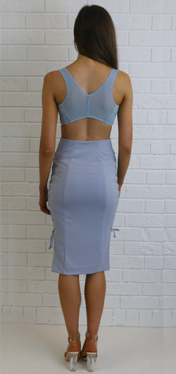 Mesh Crop Top Pale Blue