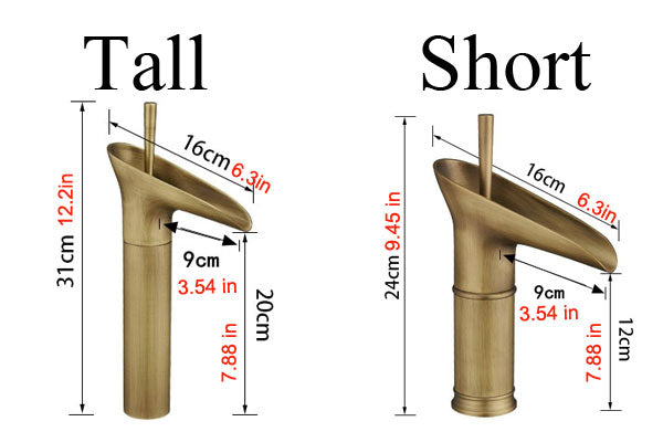 BARSS WATERFALL FACUCET SIZES
