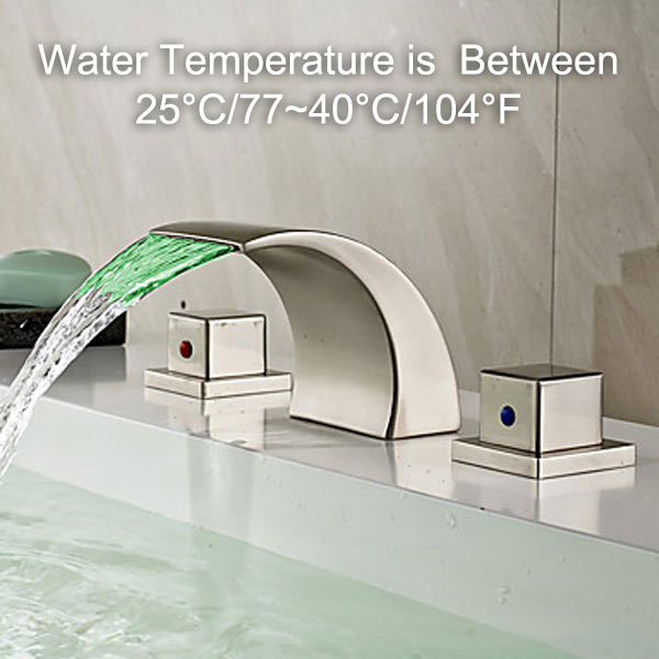 LED BATHROOM FAUCET TEMPERATURE CONTROLLED - GREEN WATER COLOR