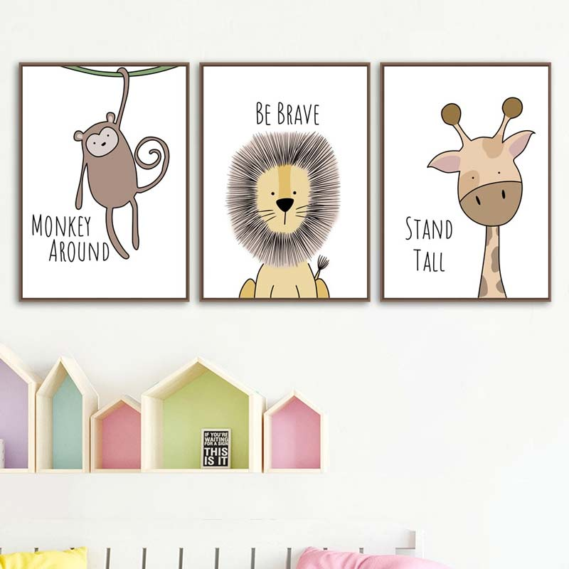 Cute animal canvas prints for baby room decor