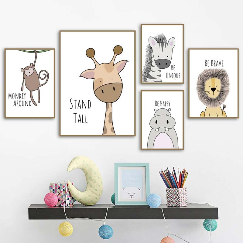 Cute animal canvas prints for nursery room decoration
