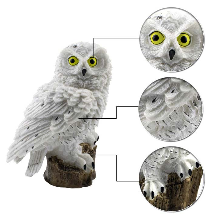 white owl solar garden light