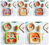 Cute 5pcs Cartoon Baby Dish Bamboo Tableware Sets-Cool Home Styling