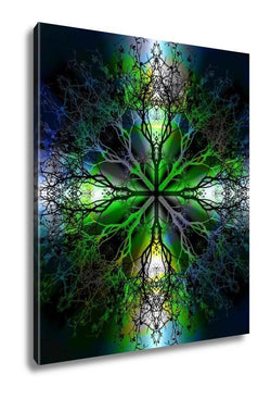 Gallery Wrapped Canvas, Beautiful Ornamental Mandala With Tree Pattern Symbol Of Life