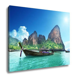 Gallery Wrapped Canvas, Boats On Railay Beach In Krabi Thailand