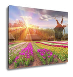 Gallery Wrapped Canvas, Fields Of Tulips In Village