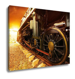 Gallery Wrapped Canvas, Iron Wheels Of Stream Engine Locomotive Train On Railways Track Perspective To