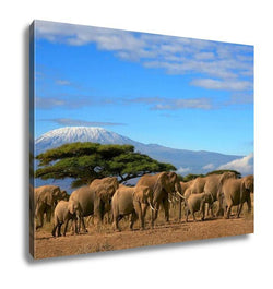 Gallery Wrapped Canvas, Kilimanjaro With Elephant Herd