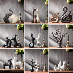 Modern Ceramic Figurines Living Room Decoration Ornaments-Figurines & Miniatures-Cool Home Styling