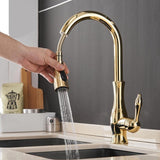 Modern Design Single Handle 360 Degree Rotation Kitchen Faucets With Pullout Taps-Gold Crystal HK00 series-Cool Home Styling