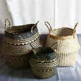 Multipurpose Seagrass Wickerwork Foldable Rattan Basket-Storage Baskets-Cool Home Styling