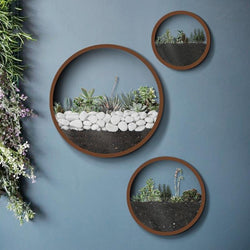 Round Iron and Glass Wall Vases-Vases-Cool Home Styling