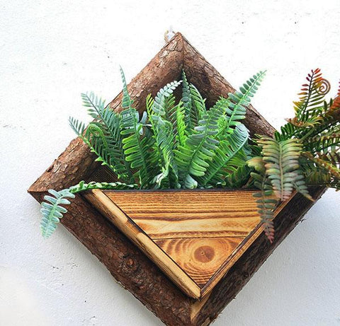Wooden Wall Mounted Flower Pots-Flower Pots & Planters-Cool Home Styling
