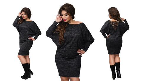 Winter Dress Plus Size Christmas Party Dress Batwing Sleeve Knitted