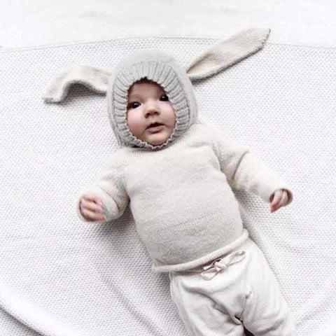 d84fd8df6bc ... Toddler Infant Knitted Baby Hat Adorable Rabbit Long Ear Hat Baby Bunny  Beanie Cap ...