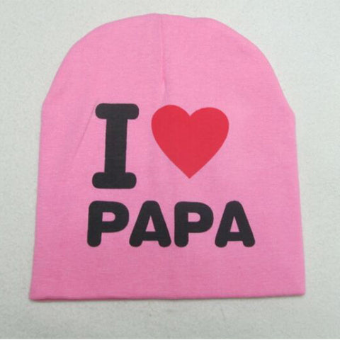 ... Baby Hats Knitted Cap Warm Cotton Toddler Baby Girl Boy I LOVE PAPA  MAMA Print ... 6d5922cb8fcc