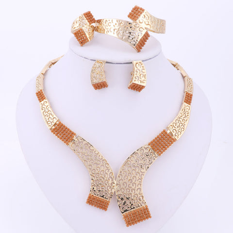 & African Gold Plated Jewelry Sets For Wedding