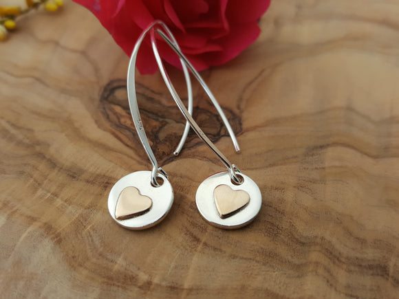 Sterling silver gold filled heart drop earrings