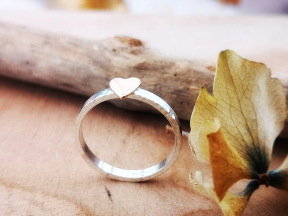 Sterling silver gold filled heart ring