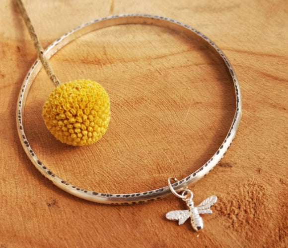 Sterling silver bee charm bangle