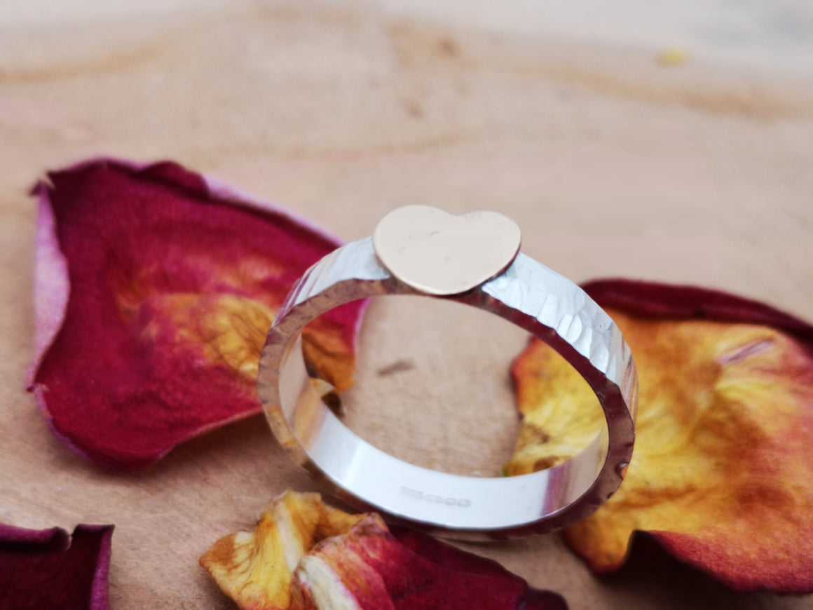 Sterling silver and large gold filled heart ring