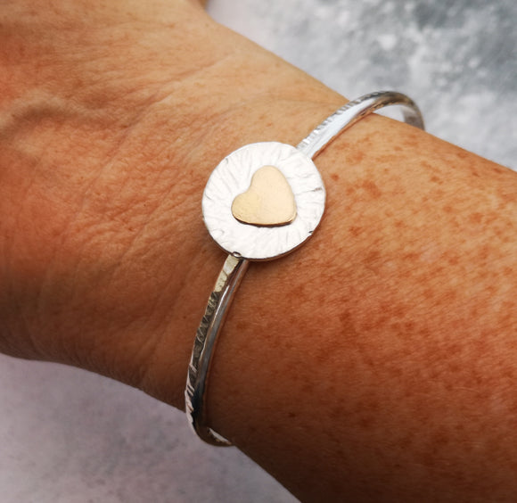 Sterling silver Big heart bangle