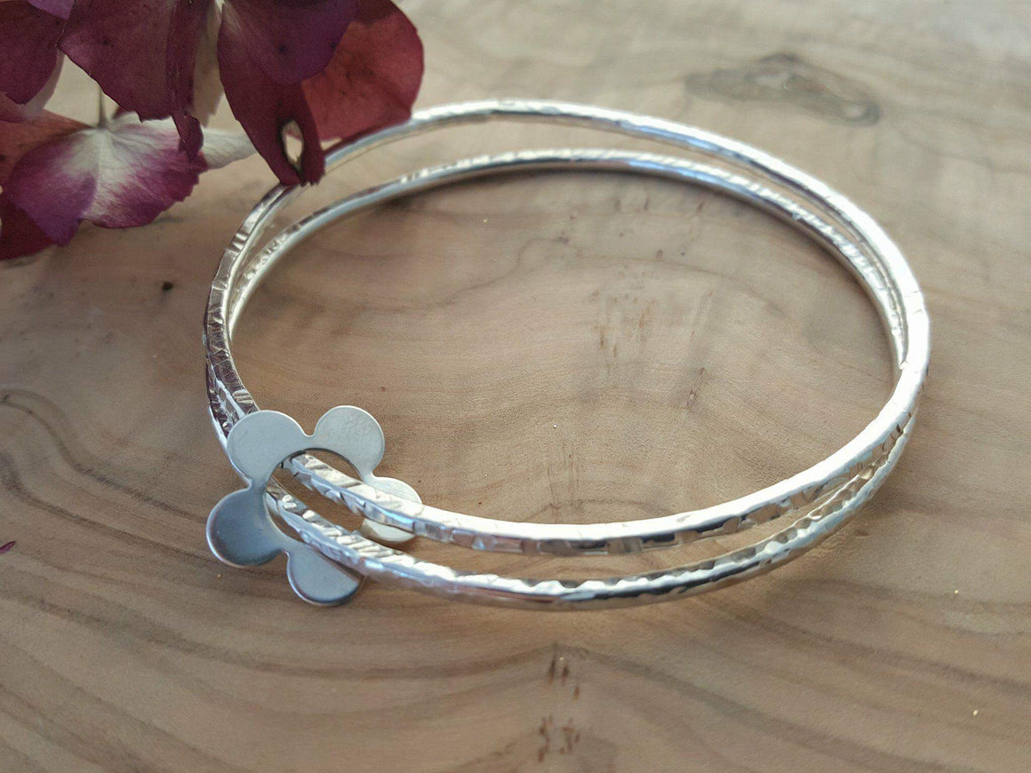 Sterling silver double bangle with flower