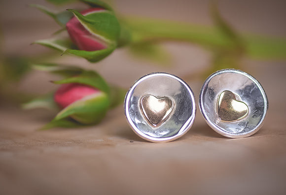 Sterling silver gold filled heart studs