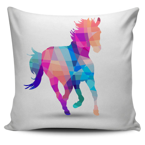 colorful geometric horse pillow cover