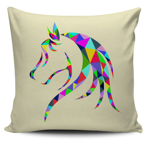 colorful geometric horse face pillow cover