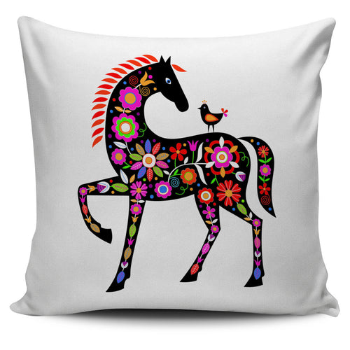 decoratively painted pony pillow cover