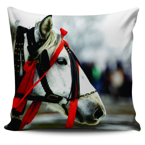 stallion with christmas ribbon pillow cover