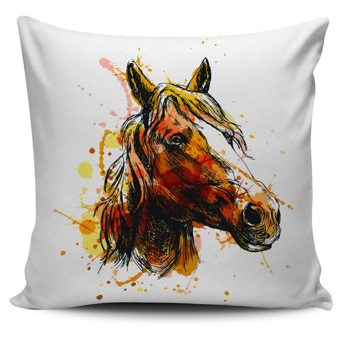 flowing mane watercolour print pillow cover