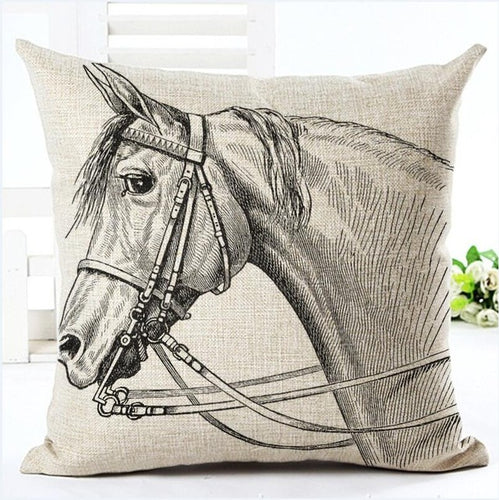 horse head illustrated pillow cover