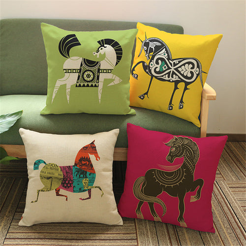 retro style horse pillow cover