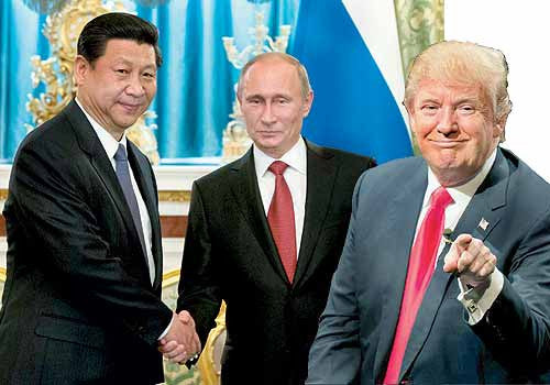 Trump Colludes with his TWO of Diamonds buds, Xi Jinping and Putin to Save the World