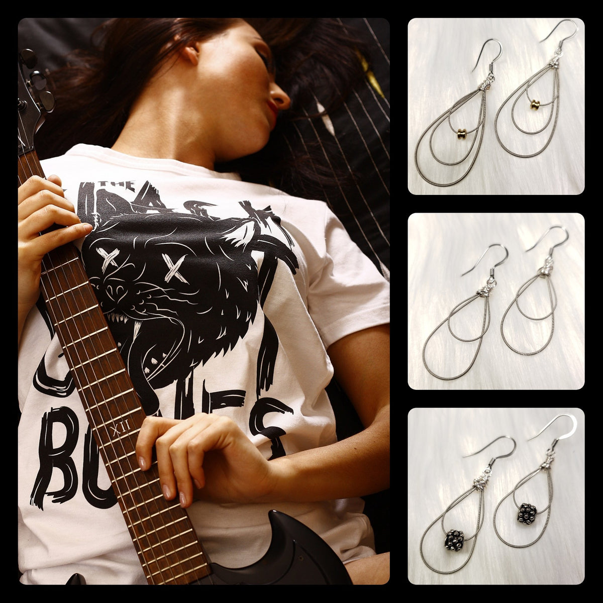 Handcrafted One-of-a-kind Earrings Created From Guitar Strings