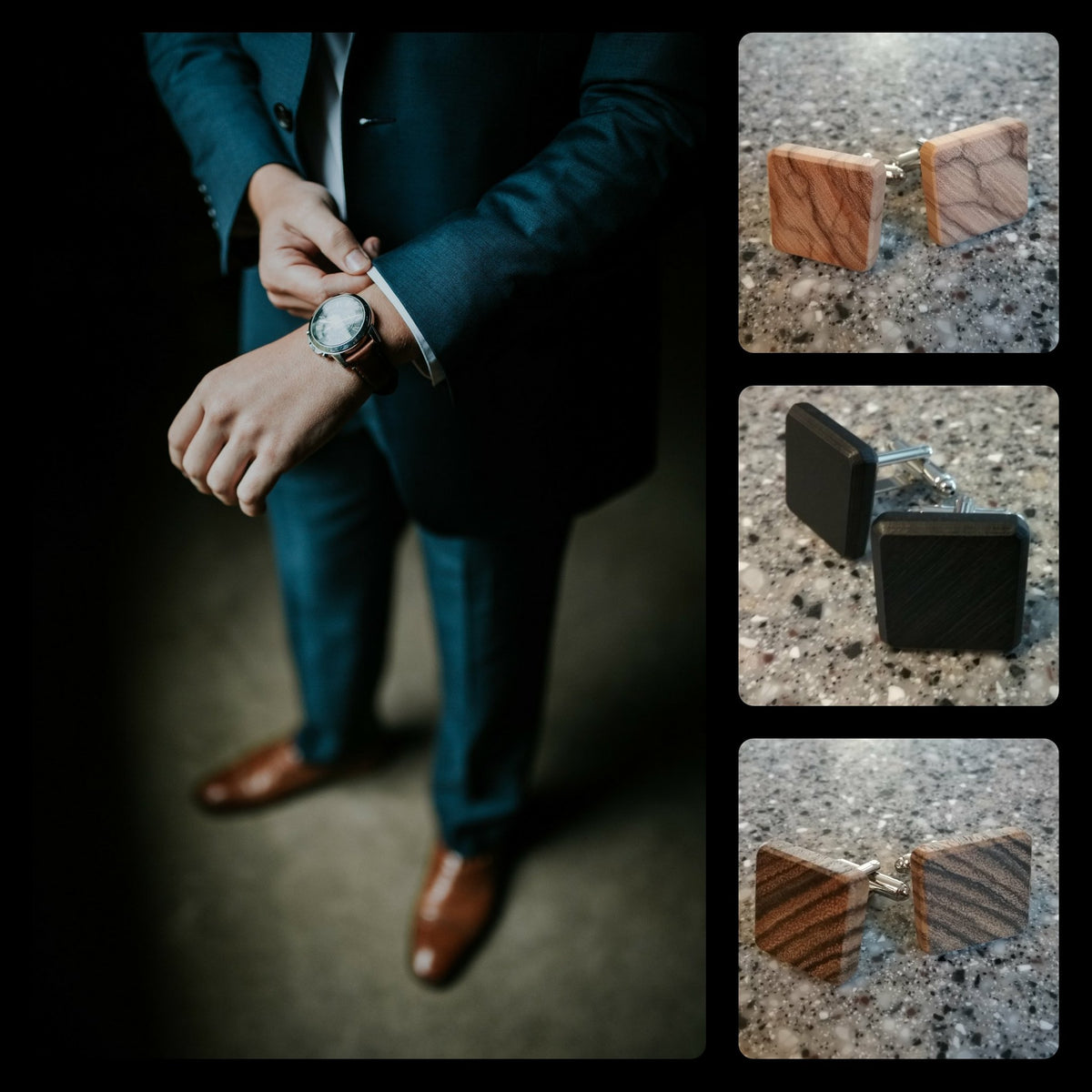 Handcrafted High Quality Cufflinks Made From Exotic Woods