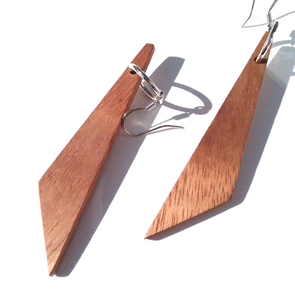 African Mahogany Wood Earrings