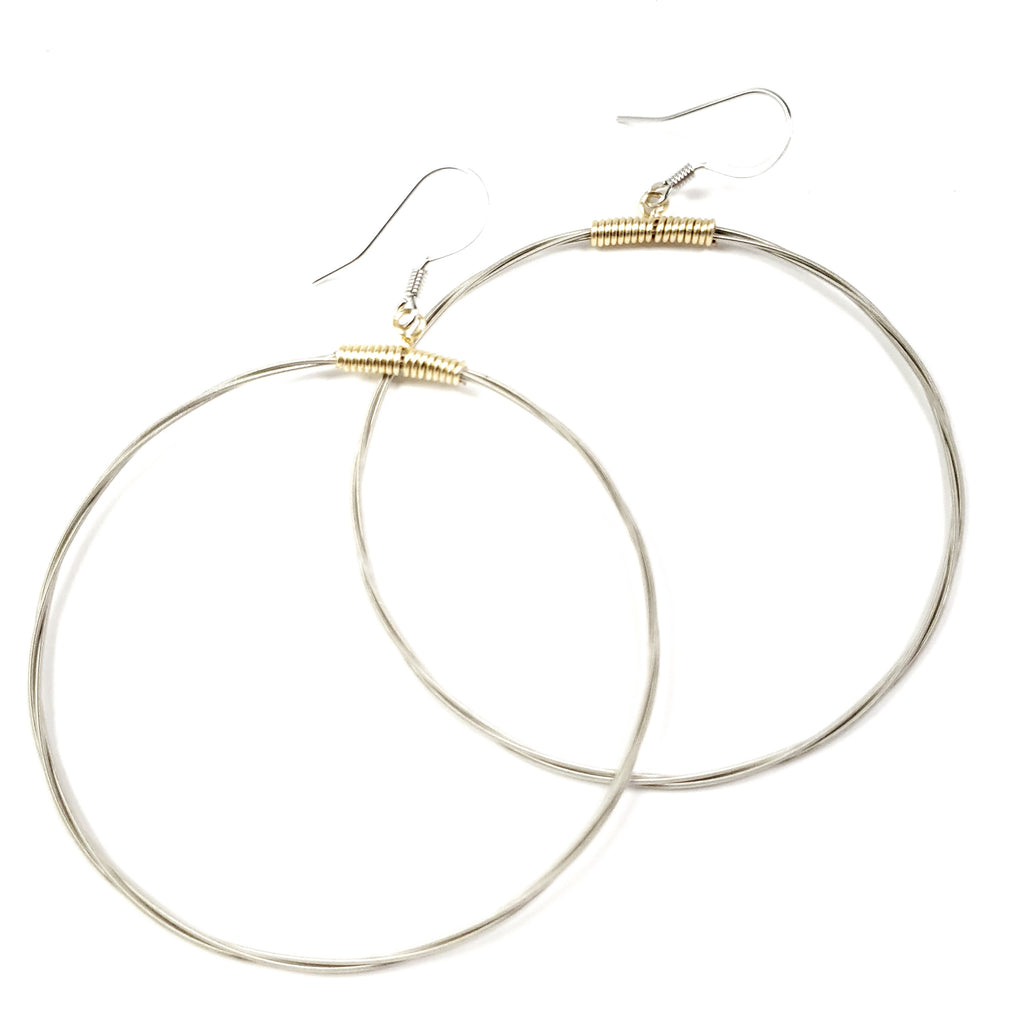 Bicolor Hoop Guitar String Earrings