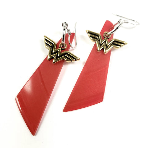 Red Vinyl Wonder Woman Earrings