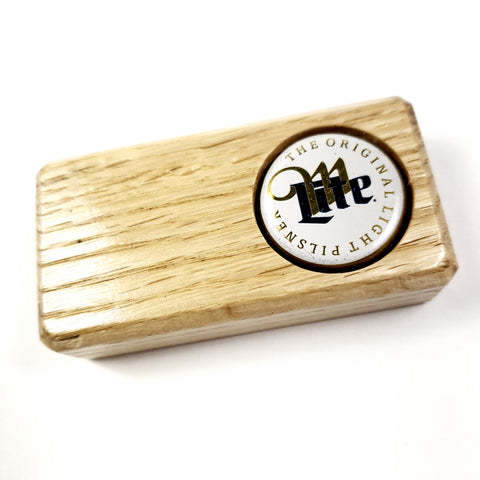 Oak Bottle Opener w/ Miller Lite Bottle Cap Inlay